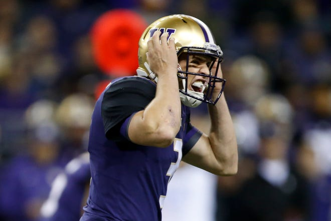Washington Huskies quarterback Jake Browning (3) yells out against the Arizona State Sun Devils during the first quarter at Husky Stadium last week.