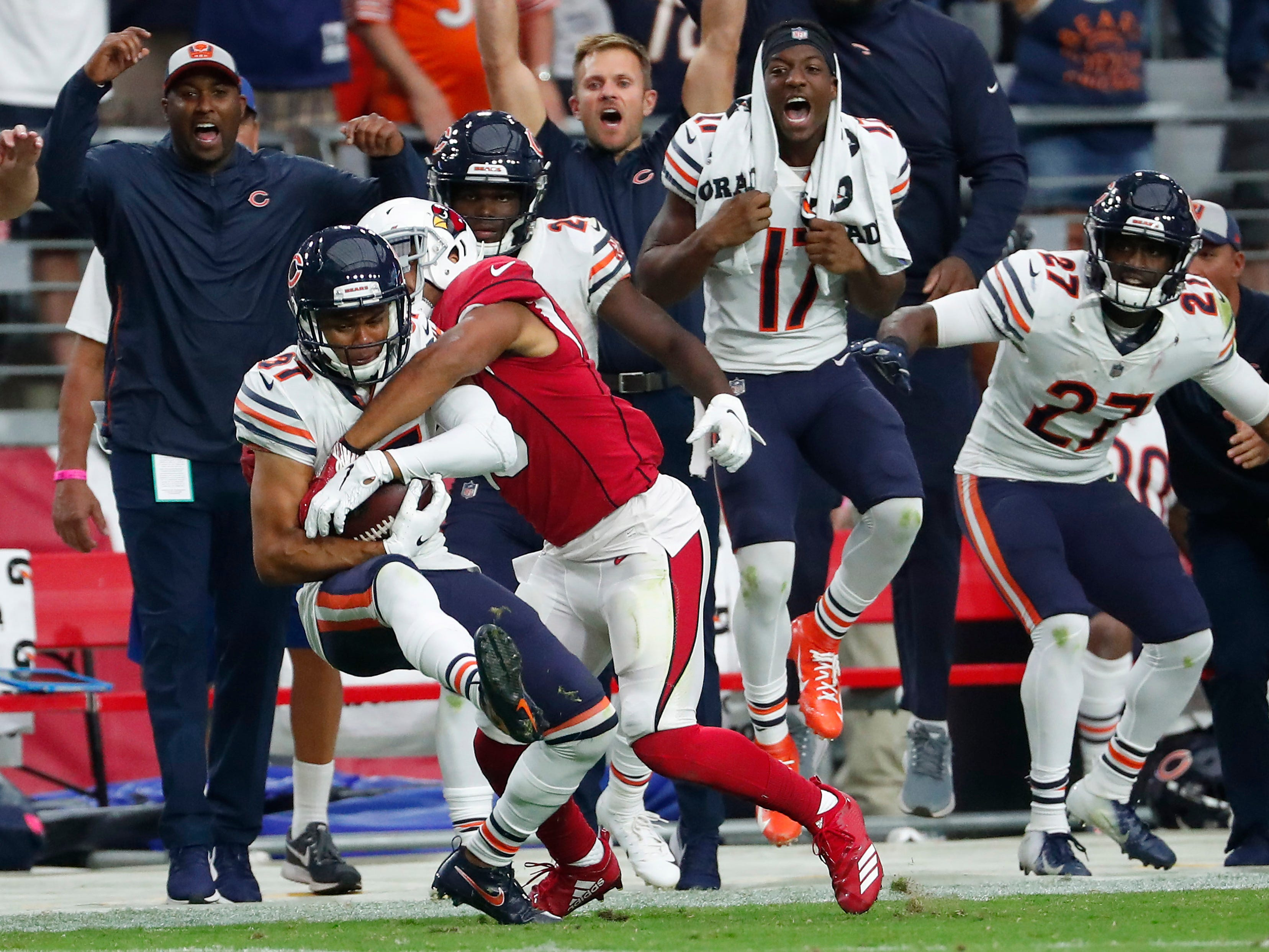 Chicago Bears defensive back Sherrick McManis (27) intercepts a pass by Arizona Cardinals quarterback Josh Rosen (3) intended for wide receiver Christian Kirk (13) during the fourth quarter at State Farm Stadium in Glendale, Ariz. September 23, 2018.