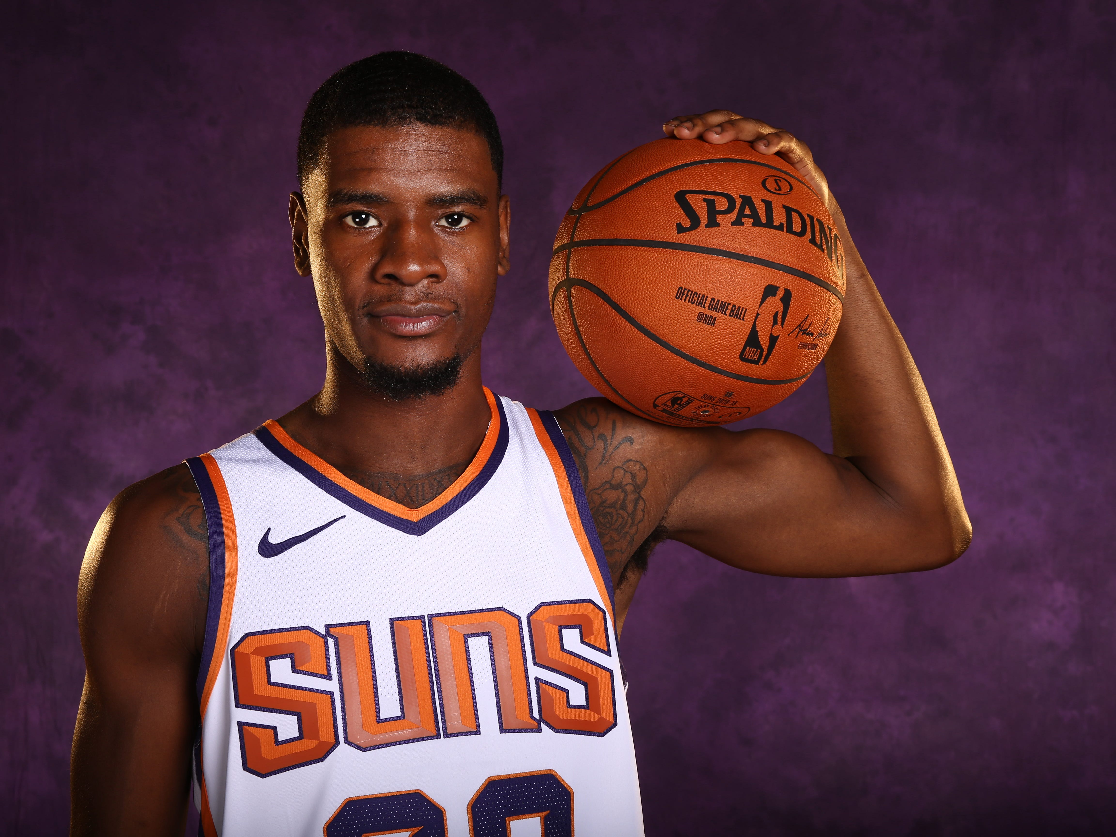 Phoenix Suns forward Josh Jackson during media day at Talking Stick Resort Arena on Aug. 21, 2018, in Phoenix, Ariz.