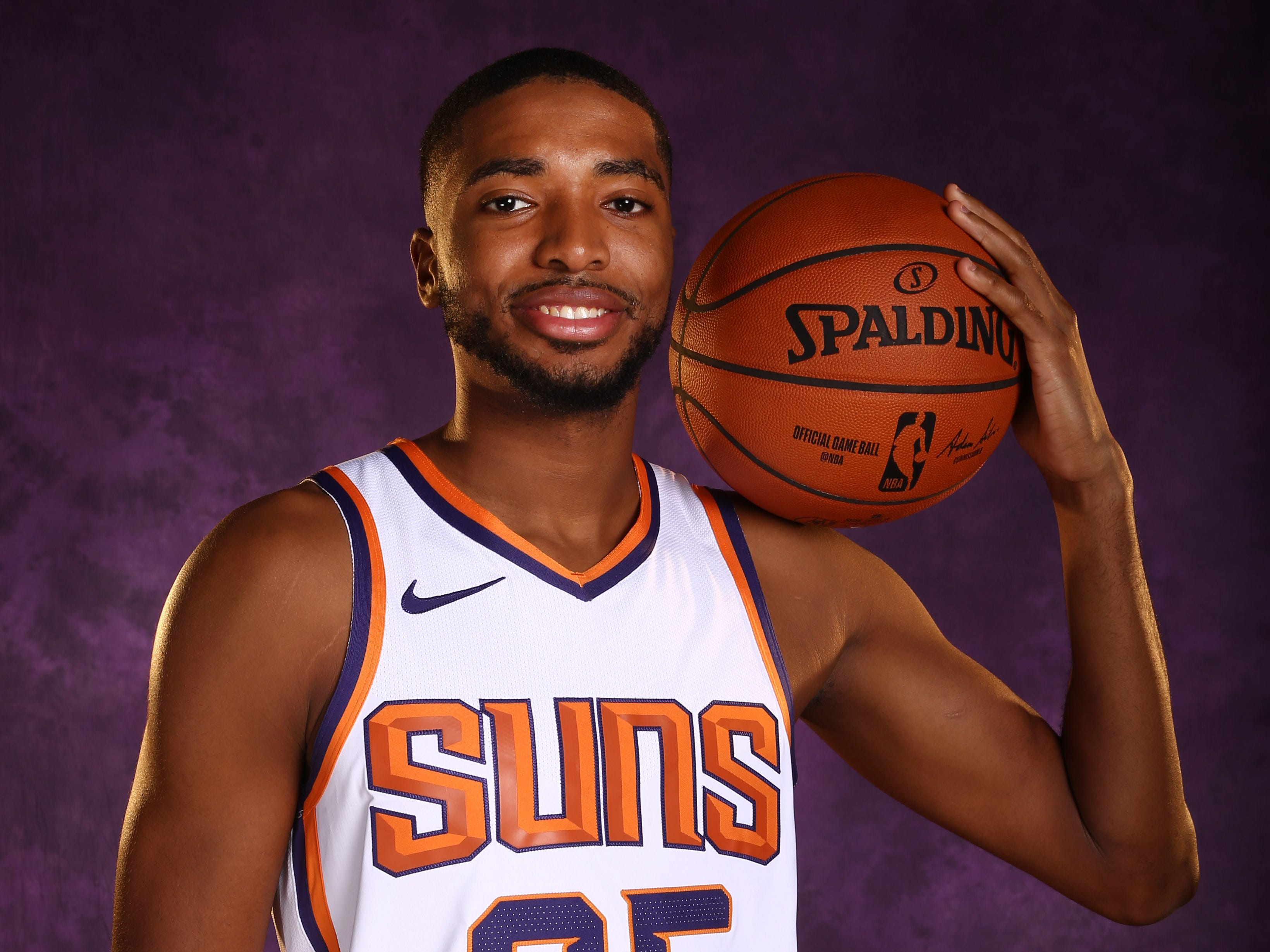 Phoenix Suns forward Mikal Bridges during media day at Talking Stick Resort Arena on Sep. 24, 2018, in Phoenix, Ariz.
