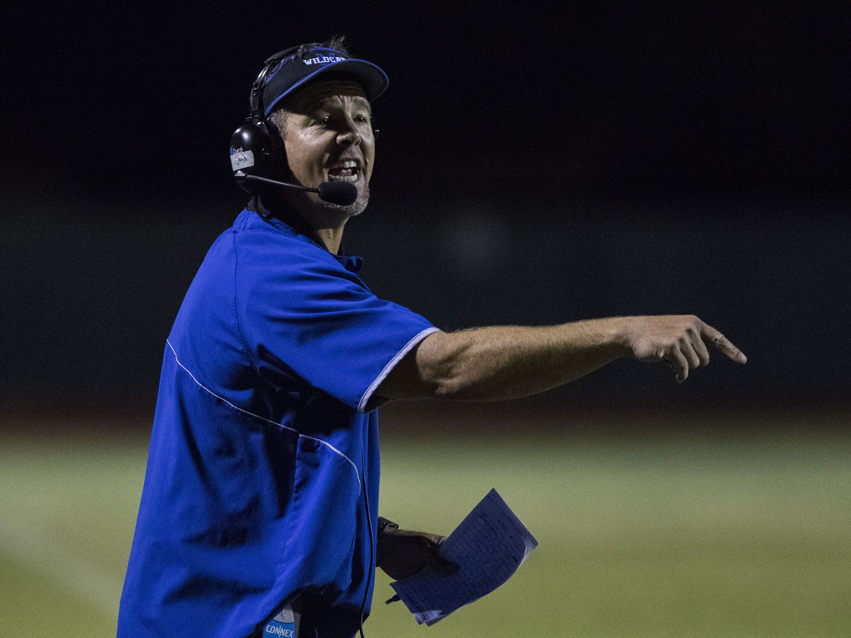 Mesquite coach Chad DeGrenier during their game against Seton in Gilbert Friday, Sept. 21, 2018. #azhsfb