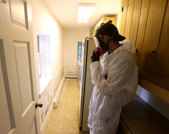 Mike Darling,  head foreman for Expediant Environmental Solutions enters a basement laundry room of a home in Hopewell Junction that has significant mold growth on Sept. 24, 2018.