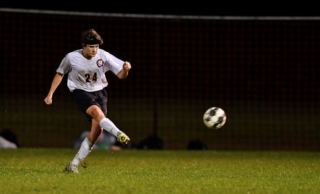 Northeastern's Noah Hartzfeld scores the game-winning goal on a free kick against Central York, Monday, Sept. 24, 2018. The final score was 1-0.