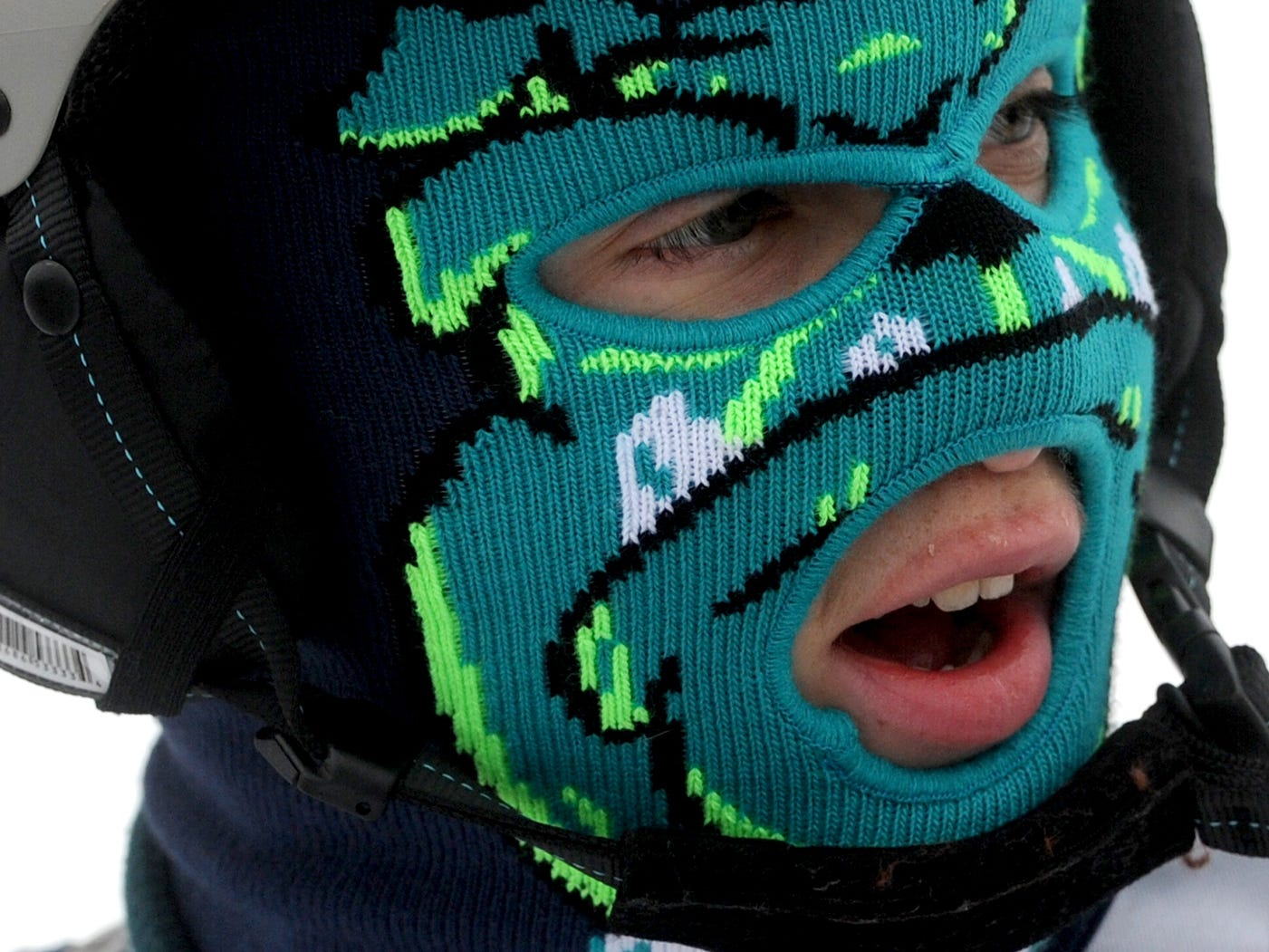 Steven Bower, 14, sports a colorful ski mask during the Special Olympic skiing competition at Roundtop Mountain Resort on January 22, 2015.