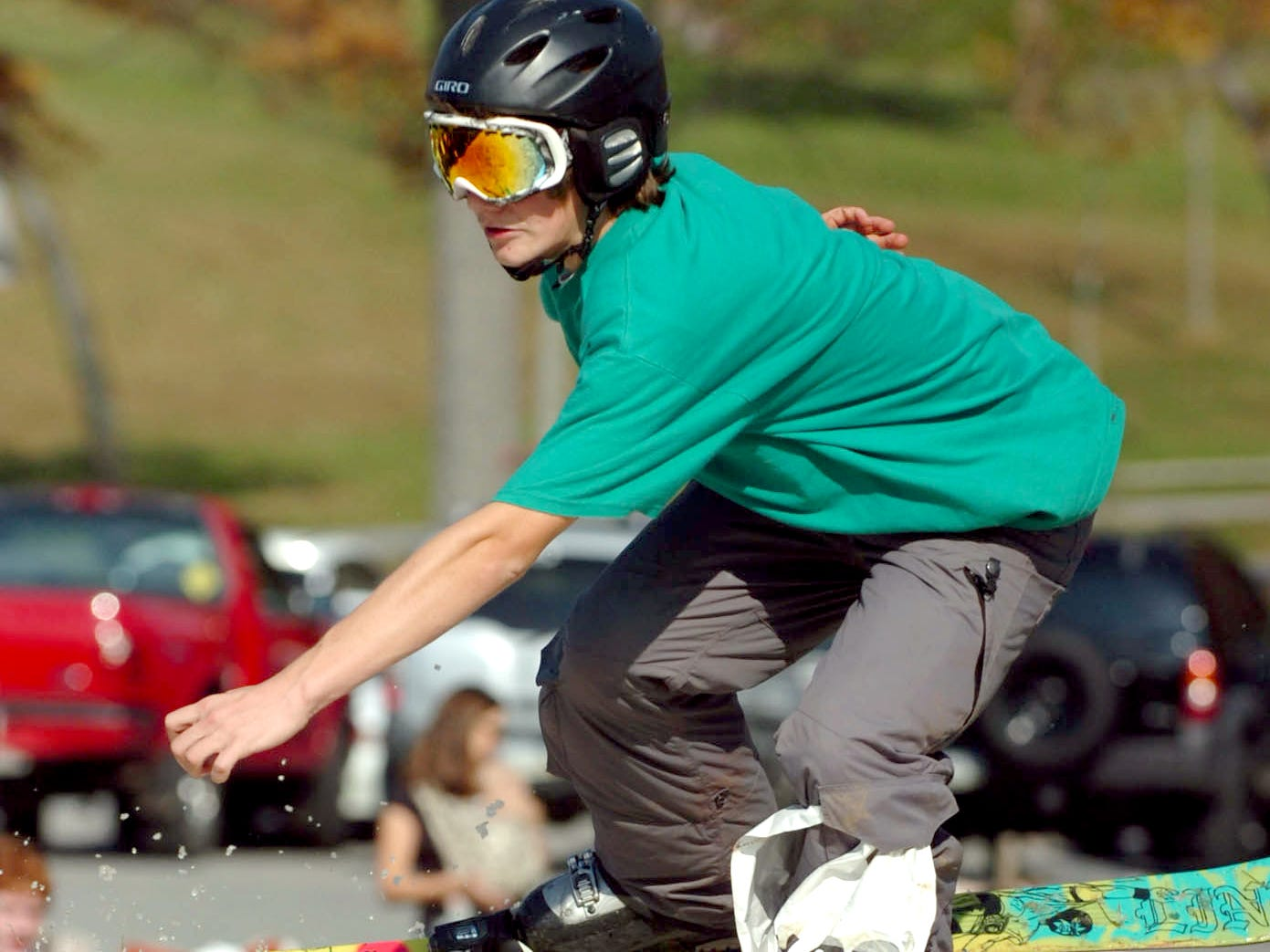 Devon Shumaker, 15, of Dillsburg takes to the air during a warm weather competition at Ski Roundtop November 1, 2008.
