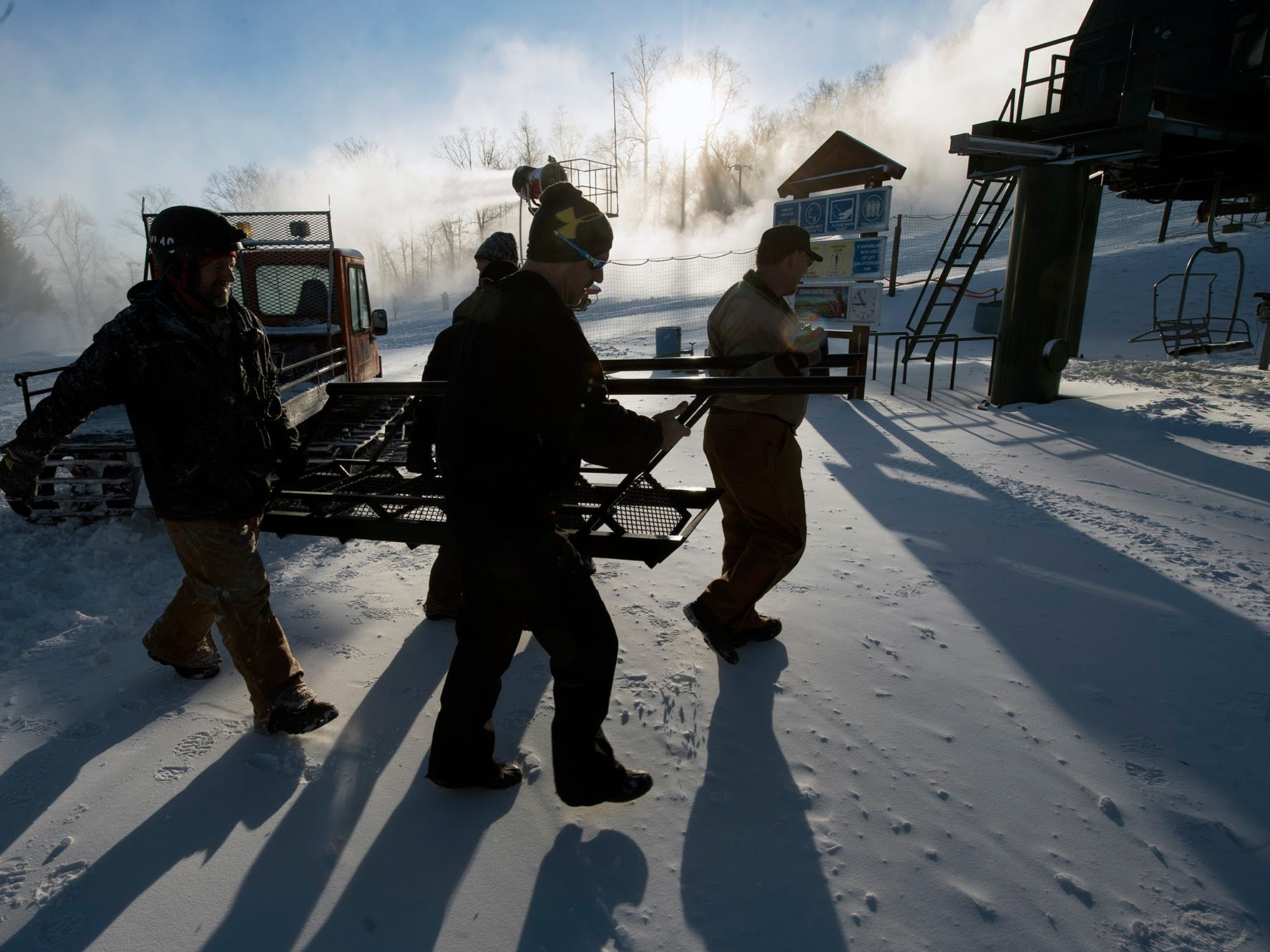 Roundtop Mountain Resort prepares to open Tuesday January 5, 2016.
