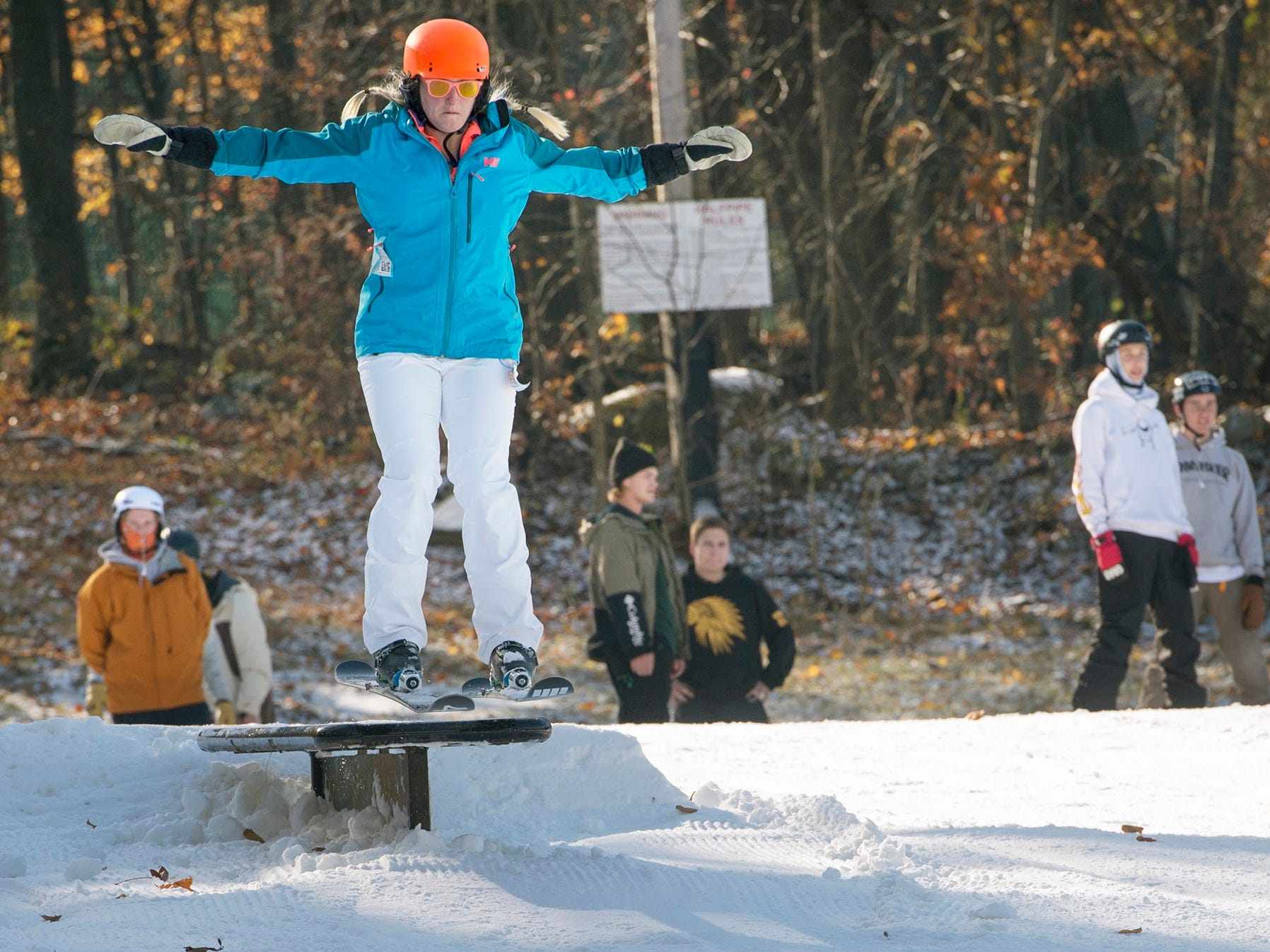 Shannon Rucker, of Tysons Virginia, skis off a table on Sunday at Roundtop Mountain Resort November 12, 2017.