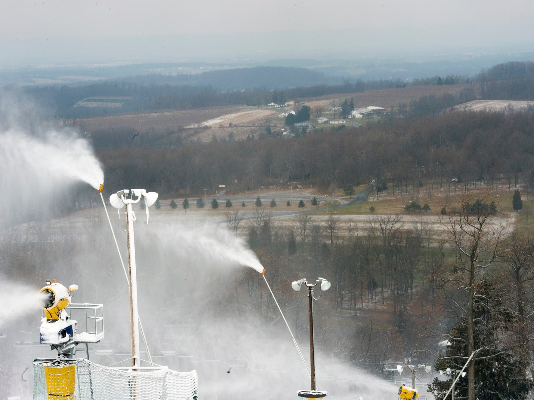 There may be 10 feet of snow at the top of the mountain but the landscape around Warrington Township at Roundtop Mountain Resort is snow free after a morning dusting Sunday December 11, 2016.