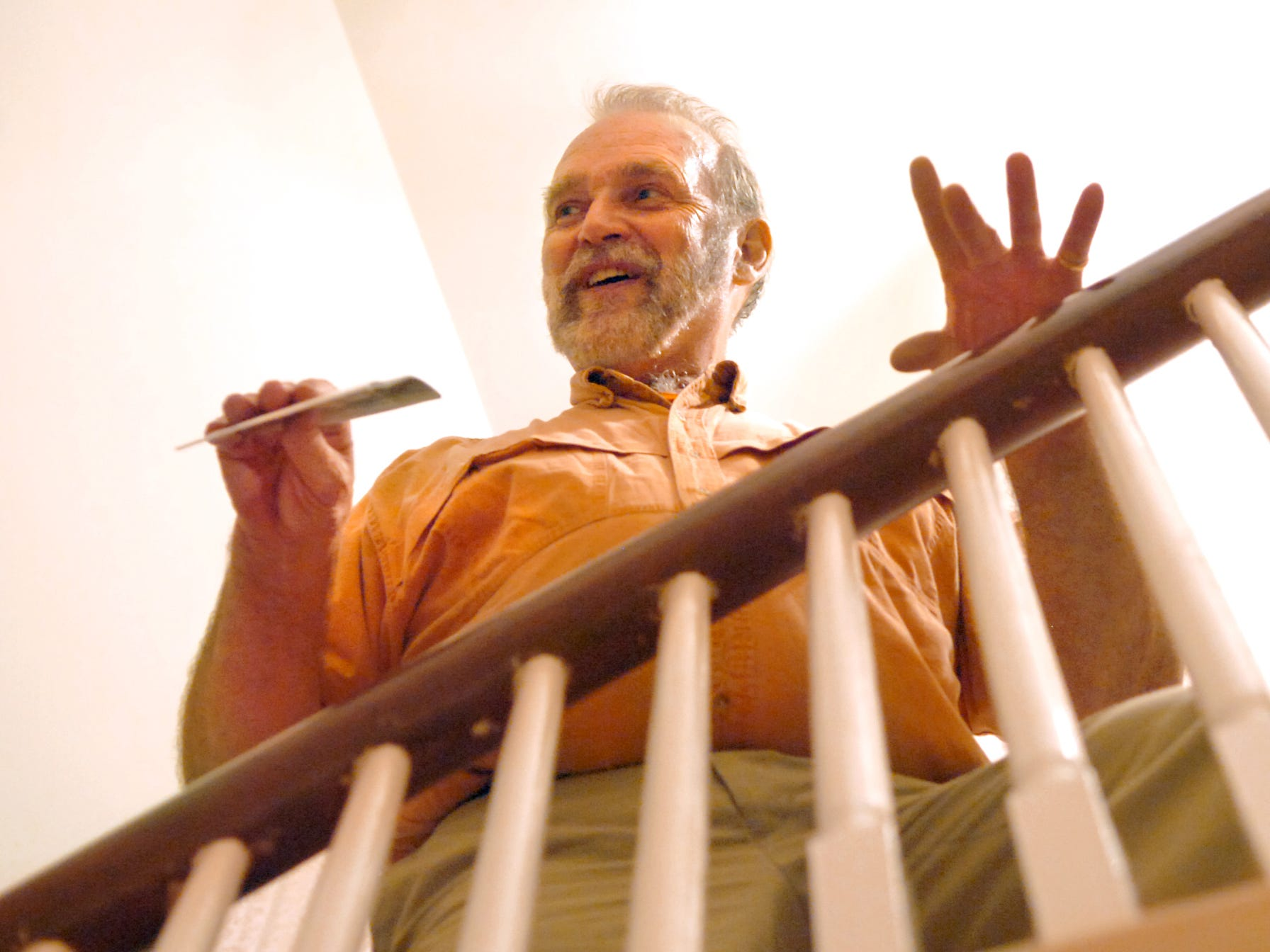 Richard Kraus, 59, of Etters, delighted in giving a tour of the Elmwood Mansion in Spring Garden Township in 2007, including tales of lots of ghostly encounters he experienced while living there in the 1980s. This staircase is where Kraus would hear phantom footsteps and where others saw the apparition of a Confederate soldier. Kraus lived in the mansion from 1981-1986.