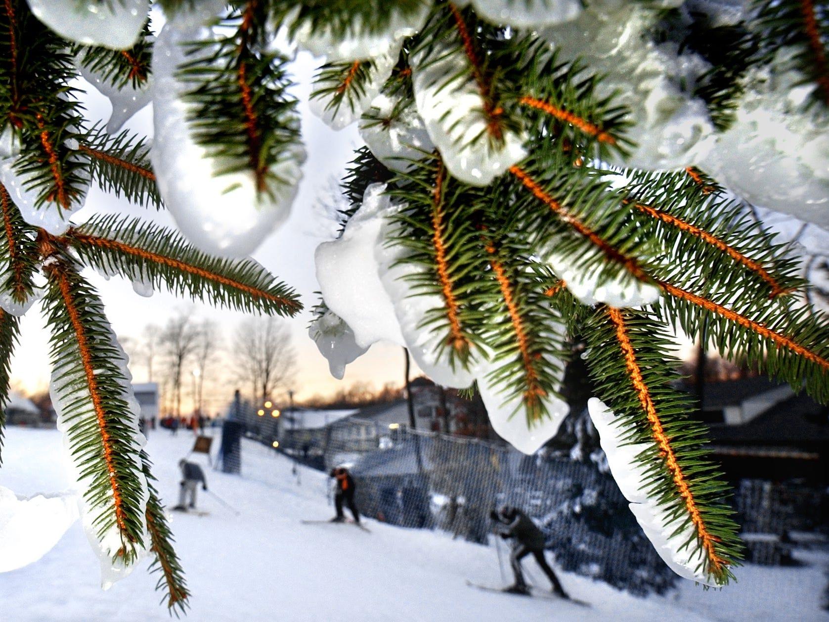 A man made winter wonderland on Ski Roundtop December 26, 2001.