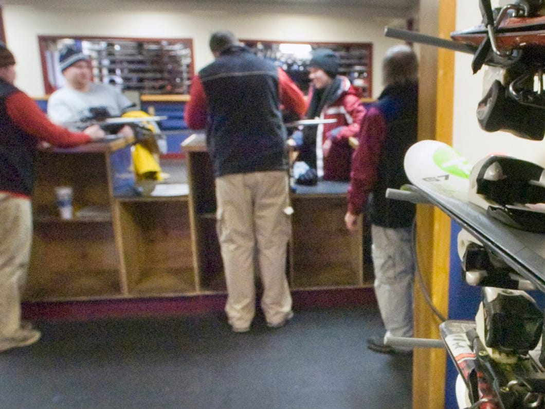 A very short ski is used to teach beginners inside the ski shop December 27, 2009.