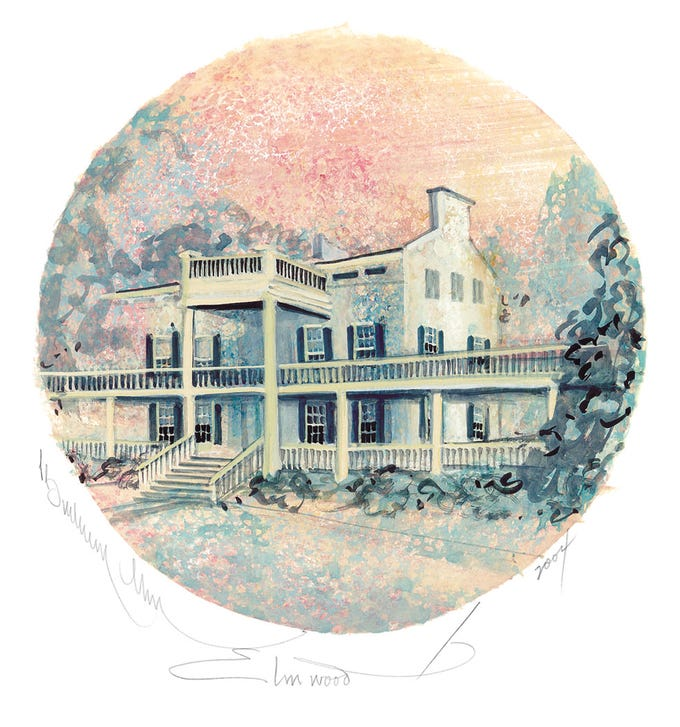 The Memorial Hospital Auxiliary sold 300 prints in 2004 of 'Elmwood' by renowned artist P. Buckley Moss. Moss decided to paint the historic community landmark in Springettsbury Township after visiting it in 2001.