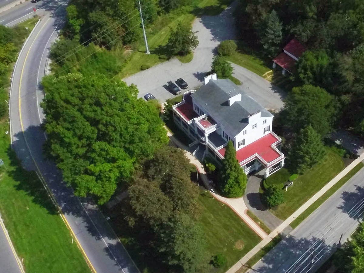 An aerial shot of the Elmwood Mansion.