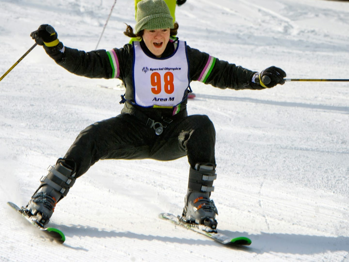 Heather Barry, a student at Cumberland Valley High School, heads down the novice course at Roundtop Mountain Resort during the Special Olympics ski competition Wednesday January 23, 2013.