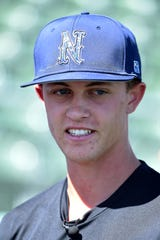 Owen Sharts talks at Nevada baseball media day on Sept. 24.