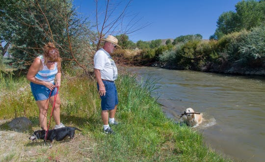 Two and four-legged visitors enjoy the recreational activities available at the park. Linda Scheffel watches their dog Kevin and Mark Scheffel waits as their dog Sierra retrieves a stick from the river.