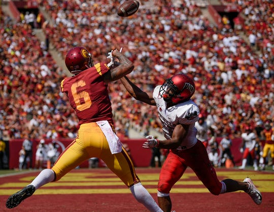 Southern California wide receiver Michael Pittman Jr. (6) is unable to catch a pass defended by UNLV defensive back Jocquez Kalili.