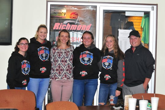 The Richmond High School girls golf team advanced to the state finals. From left, freshman Esther Etherington, seniors Jacey Cornett and Karissa Owens, junior Brianna Fisher, sophomore Ashlyn Spurrier, and head coach Caleb Snyder.