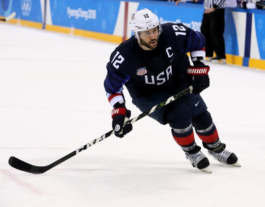 United States forward Brian Gionta (12) in a hockey game between the United States of America and Slovakia during the Pyeongchang 2018 Olympic Winter Games at Gangneung Hockey Centre.