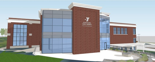 A conceptual drawing illustrates how the new Schottland Family Branch YMCA in Pittsford will look. The branch is on track to open in October 2019.