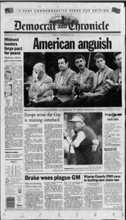 The Democrat and Chronicle's front page Sept. 25, 1995, reports the U.S. loss to Europe in the Ryder Cup.