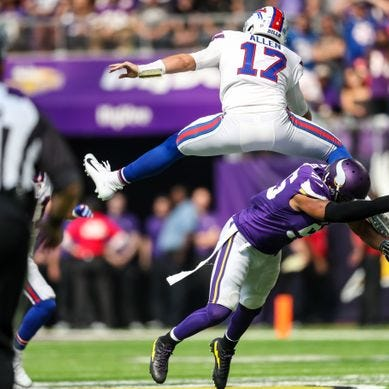 Josh Allen's hurdle lights up Twitter