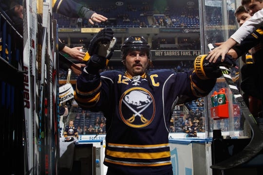 Brian Gionta  of the Buffalo Sabres heads to the locker room after warming up to play the Boston Bruins at First Niagara Center on January 15, 2016 in Buffalo, New York.
