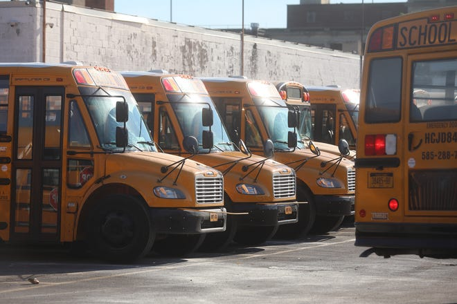Some First Student buses in the bus garage on East Main St. in Rochester were damaged by vandalism over the weekend.
