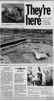 The Democrat and Chronicle's front page Sept. 19, 1995, announced the arrival of the Ryder Cup's European team on the supersonic Concorde the previous day.