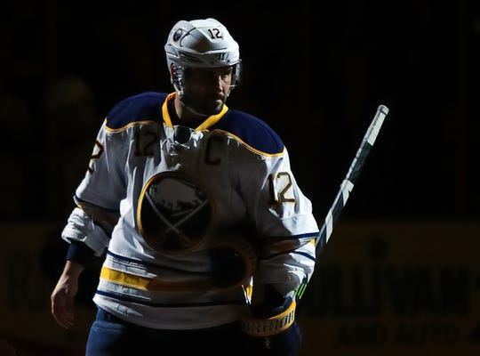 Sabres right wing Brian Gionta (12) before their game against the Boston Bruins at TD Garden on March 28, 2017.