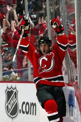 Brian Gionta  of the New Jersey Devils celebrates his goal in the second period against the Ottawa Senators during Game 1 of the 2007 Eastern Conference Semifinals on April 26, 2007 at the Continental Airlines Arena in the Meadowlands in East Rutherford, New Jersey.