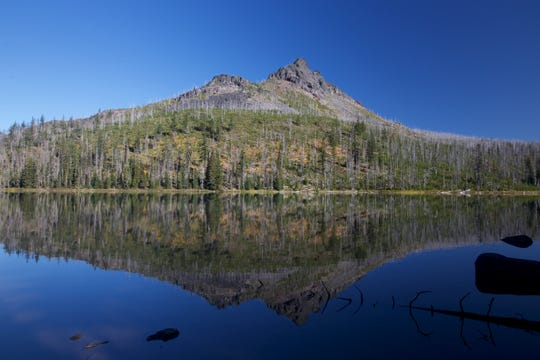 At Duffy Lake, the dead trees on the mountains above the water mark impact from the B&B Complex that roared here 15 years ago.