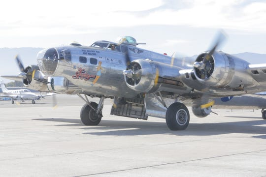 A B 17 Flying Fortress has come to Salinas for the California International Airshow this weekend. It arrived on Monday and took several passengers, including WWII veteran Ray Morasca, for a spin.