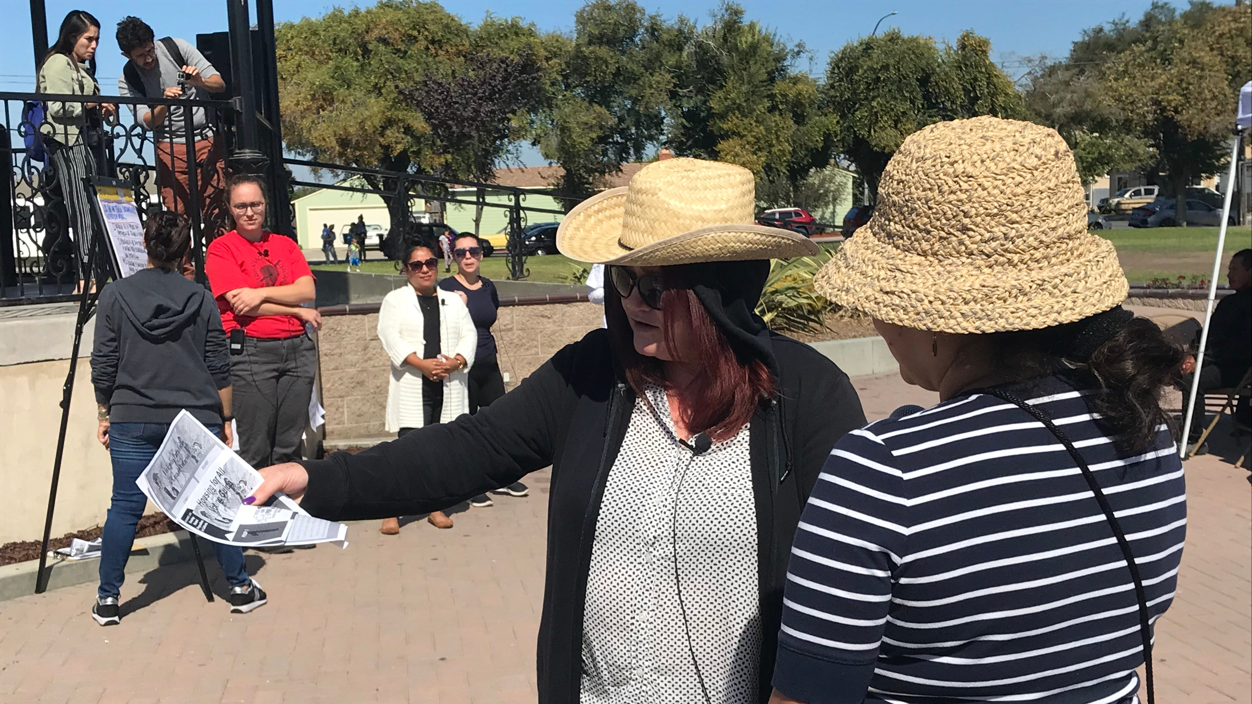 Adriana De Peña acts as an undocumented immigrant as part of a skit on how to engage with Salinas residents on housing issues.