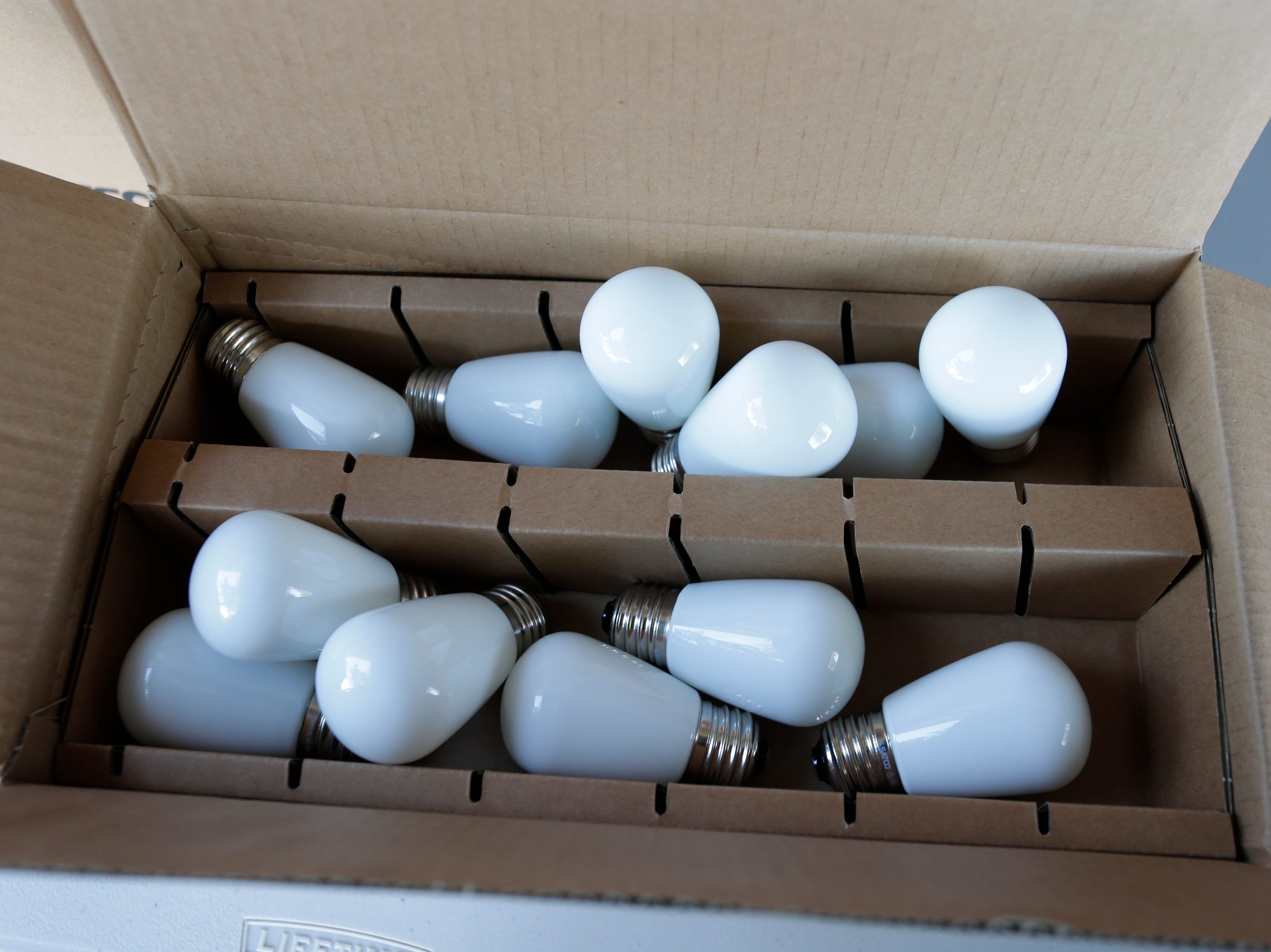 New LED bulbs, that look identical to the incandescent bulbs they replace at the Stefanie H. Weill Center for the Performing Arts, Sunday, September 23, 2018, in Sheboygan, Wis.