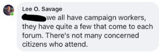 """These are screenshots from a Facebook post where Shreveport mayoral candidate Lee O. Savage suggests that his Democratic opponents have """"paid cheerleaders"""" and that billionaire George Soros has injected money this year in the local election."""