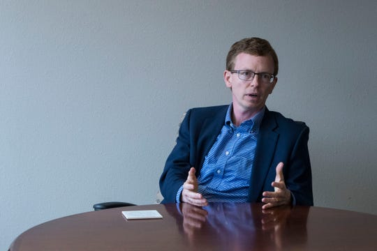 Dusty Johnson speaks to the Argus Leader in Sioux Falls, S.D. on Monday, Sept. 24, 2018.