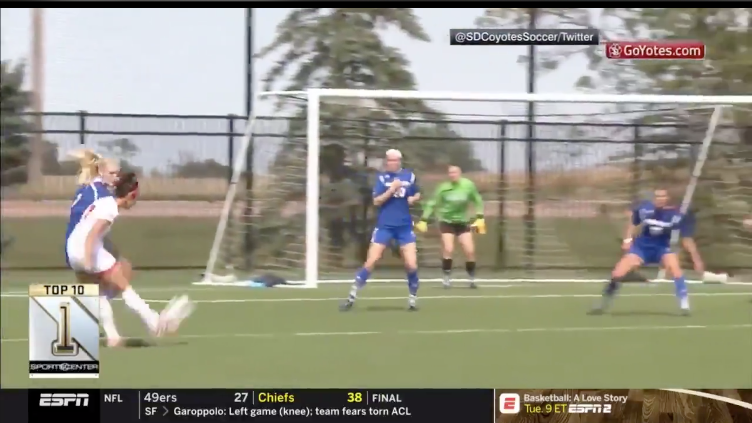 USD freshman Joana Zanin made SportsCenter on Sunday with her ridiculous game-tying goal against UMKC.