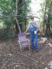 Art Elwell visited his old campsite north of Springfield last week. Elwell, who had been homeless for eight years, now lives in a tiny cabin in upstate New York.