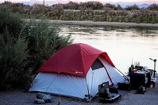 This is Art Elwell's campsite next to the Colorado River. He camped there for nearly three months last year.