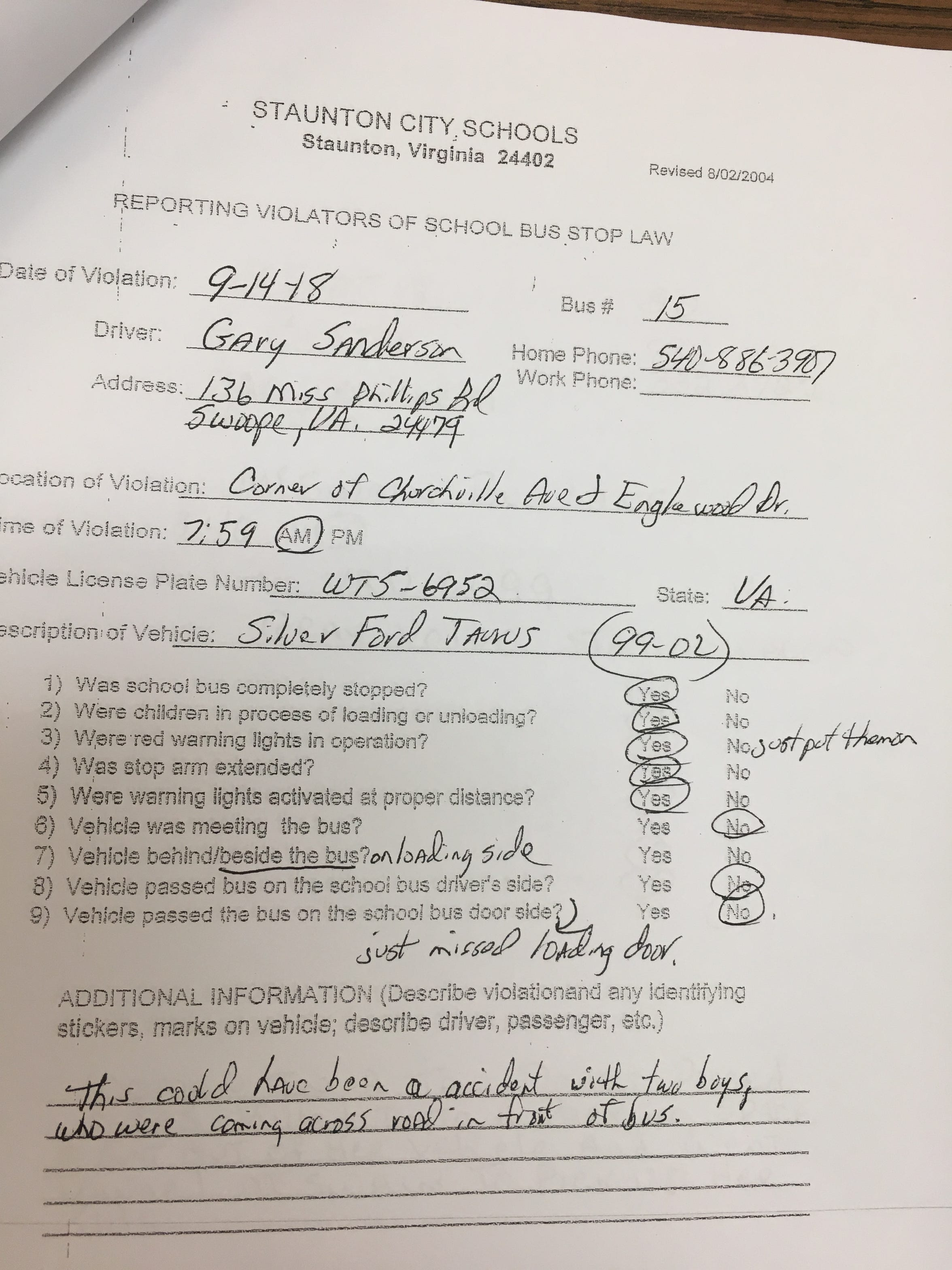 The written report from the September 14, 2018 incident that led to the only charge of reckless driving this year out of 57 bus driver reports. Report courtesy of Staunton City Schools.
