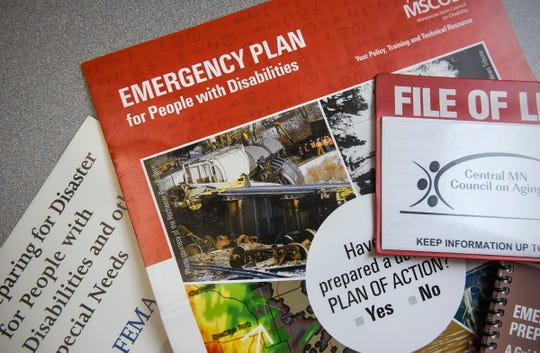 Pictured are a variety of materials used to help people with disabilities prepare for emergencies.