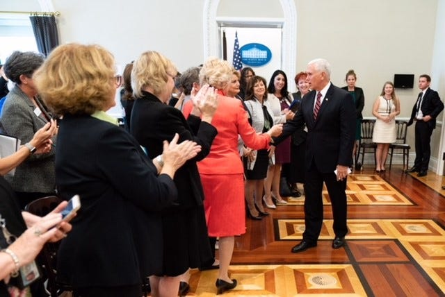 Six mayors from Utah were among a group invited to the Women Mayors of America White House Conference. Here attendees are shown meeting with Vice President Mike Pence.