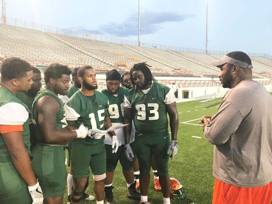 FAMU defensive coordinator Ralph Street goes over details for this week's strategy with his players.