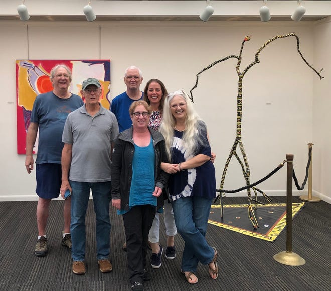 The Committee and Installation Crew for the exhibit:  From left, back row: Chuck Corbett and Kent Griffin, middle row: Bob Jones and Camille Patton, front row:  Jaye Houle and Terrie Corbett.
