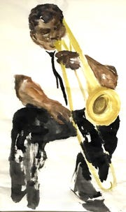 "Ann Kozeliski's Sumi-e painting titled ""Preservation Serenade."""