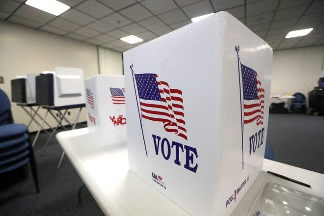 File photo of voting booths