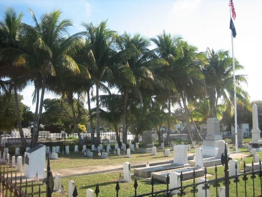The Battleship Maine memorial section of the Key West Cemetery.