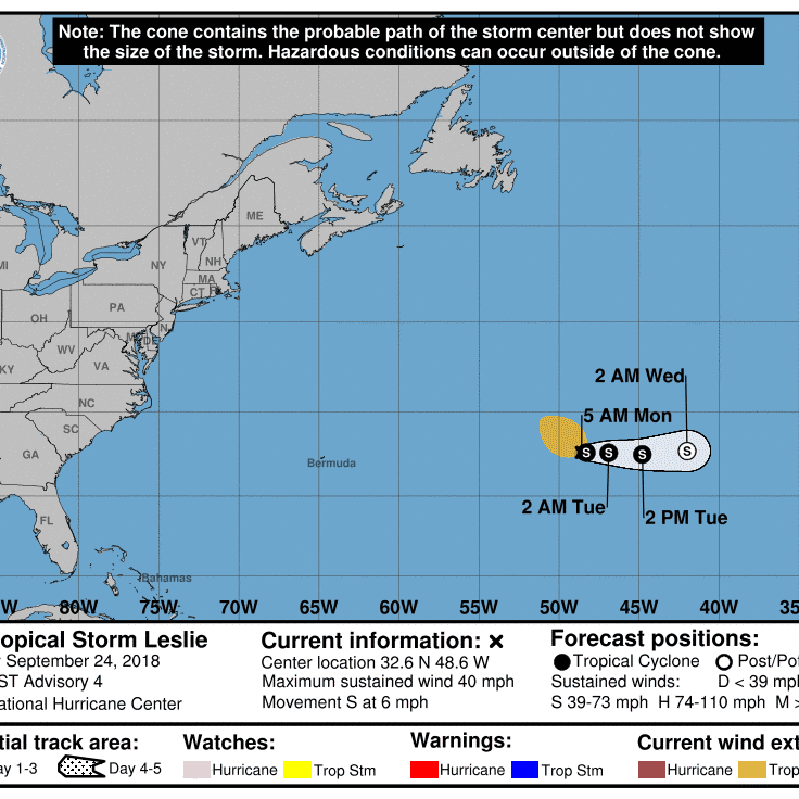 Subtropical Storm Leslie is expected to strengthen
