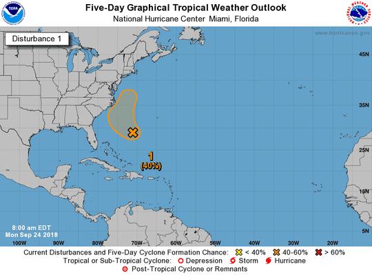 Tropical disturbance No. 1, 8 a.m. Sept. 24, 2018